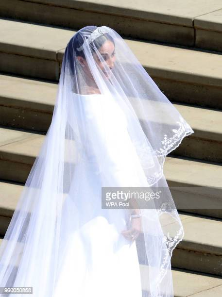 Meghan Markle arrives for her wedding to Prince Harry at St George's Chapel Windsor Castle on May 19 2018 in Windsor England