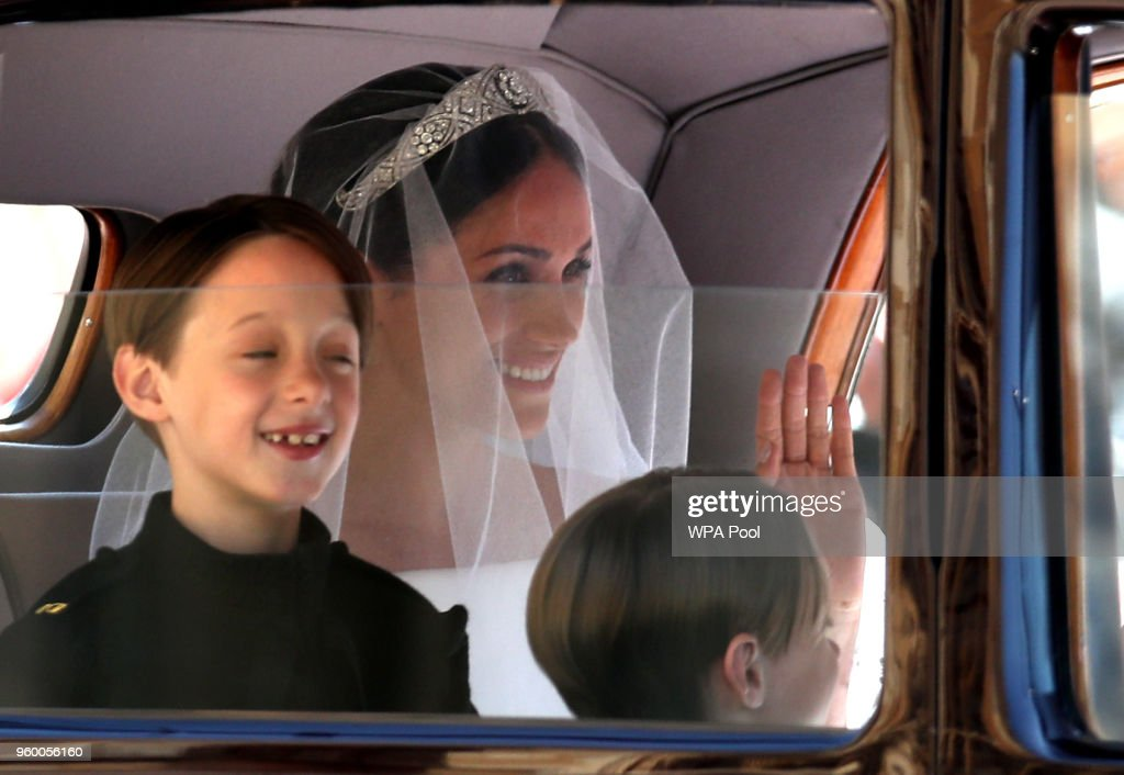 Meghan Markle arrives for the wedding ceremony of Britain's Prince Harry and US actress Meghan Markle at St George's Chapel, Windsor Castle on May 19, 2018 in Windsor, England.