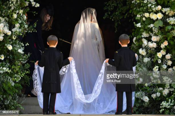 Meghan Markle arrives for the wedding ceremony to marry Prince Harry at St George's Chapel Windsor Castle on May 19 2018 in Windsor England