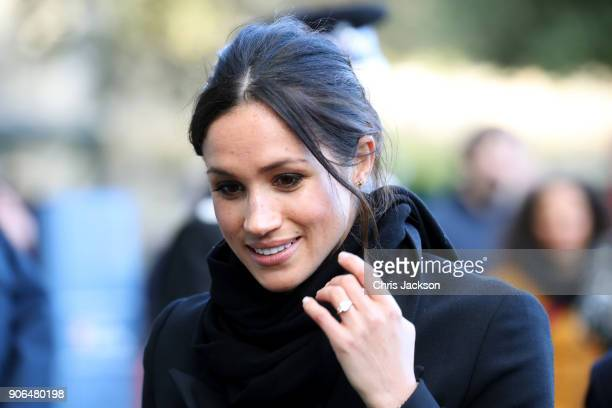 Meghan Markle arrives to a walkabout at Cardiff Castle on January 18 2018 in Cardiff Wales