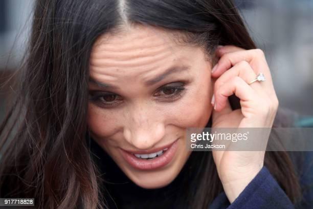 Meghan Markle arrives to Edinburgh Castle with Prince Harry on February 13 2018 in Edinburgh Scotland