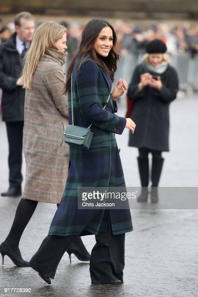 Meghan Markle arrives to Edinburgh Castle with Prince Harry on February 13 2018 in Edinburgh Scotland