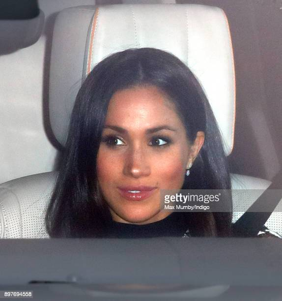 Meghan Markle attends a Christmas lunch for members of the Royal Family hosted by Queen Elizabeth II at Buckingham Palace on December 20 2017 in...