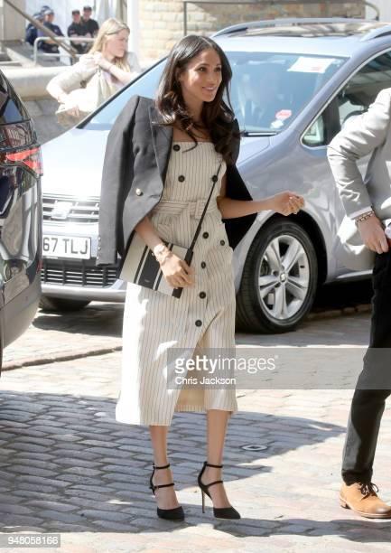 Meghan Markle attends a reception with delegates from the Commonwealth Youth Forum during the Commonwealth Heads of Government Meeting at the Queen...
