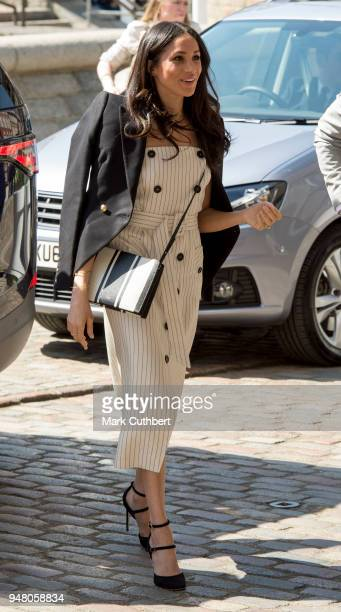 Meghan Markle attends a reception with delegates from the Commonwealth Youth Forum during the Commonwealth Heads of Government Meeting at Queen...