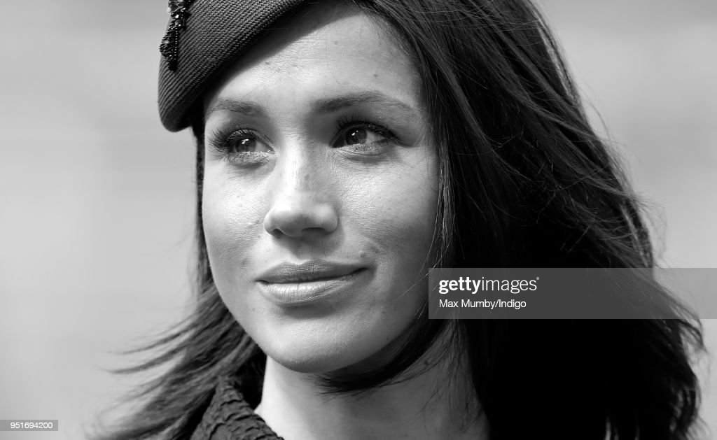This Image has been converted into black and white) Meghan Markle attends an Anzac Day Service of Commemoration and Thanksgiving at Westminster Abbey on April 25, 2018 in London, England. Anzac Day commemorates members of the Australian and New Zealand Army Corps who died during the Gallipoli landings of 1915.