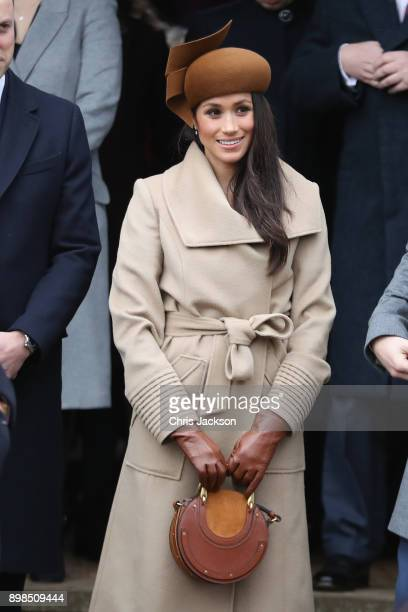Meghan Markle attends Christmas Day Church service at Church of St Mary Magdalene on December 25 2017 in King's Lynn England