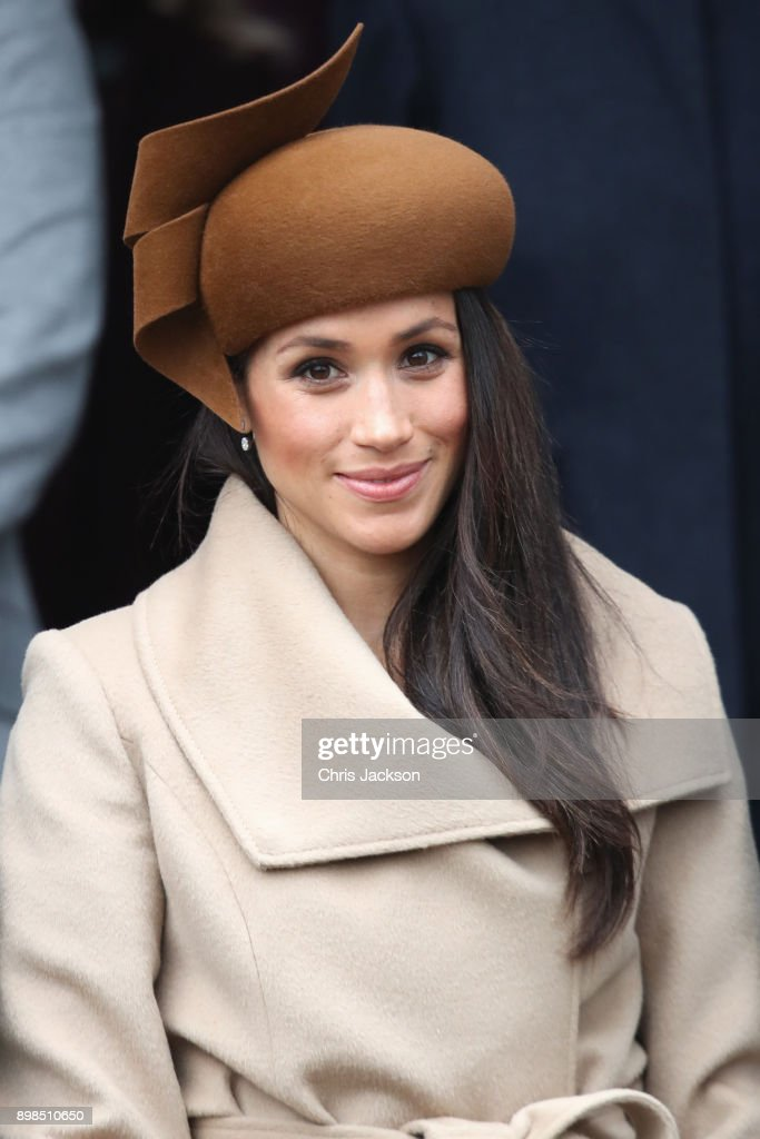 Meghan Markle attends Christmas Day Church service at Church of St Mary Magdalene on December 25, 2017 in King's Lynn, England.