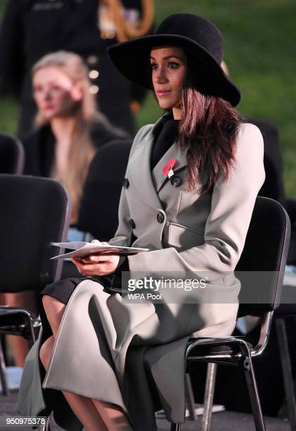 Meghan Markle attends the Dawn Service at Wellington Arch to commemorate Anzac Day on April 25 2018 in London United Kingdom