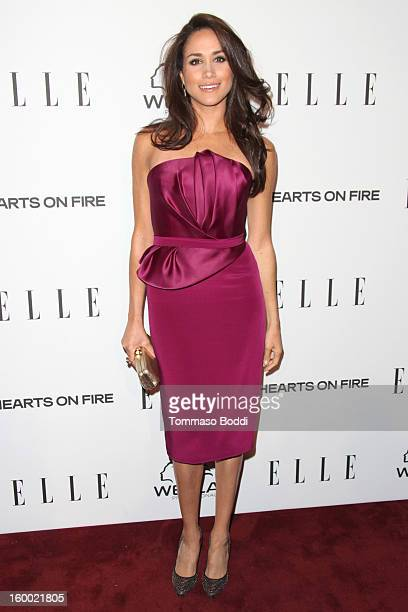 Meghan Markle attends the ELLE Women in Television Celebration presented by Hearts on Fire Diamonds and Wella Professionals held at Soho House on...