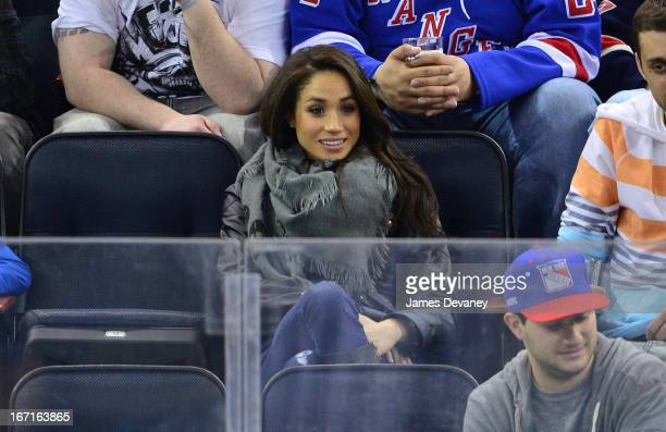 Meghan Markle attends the New Jersey Devils vs The New York Rangers game at Madison Square Garden on April 21 2013 in New York City