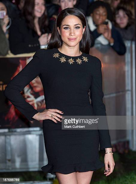 Meghan Markle attends the UK Premiere of The Hunger Games Catching Fire at Odeon Leicester Square on November 11 2013 in London England