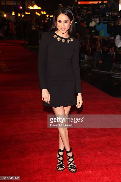 Meghan Markle attends the UK Premiere of 'The Hunger Games Catching Fire' at Odeon Leicester Square on November 11 2013 in London England
