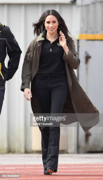 Meghan Markle attends the UK Team Trials for the Invictus Games Sydney 2018 alongside Prince Harry at the University of Bath Sports Training Village...