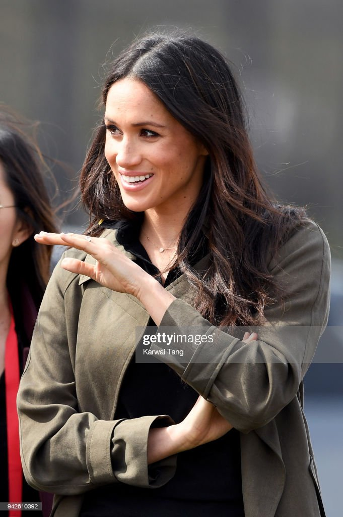 Meghan Markle attends the UK Team Trials for the Invictus Games Sydney 2018 alongside Prince Harry at the University of Bath Sports Training Village on April 6, 2018 in Bath, England. The Invictus Games Sydney 2018 will take place from 20-27th October and will see over 500 competitors from 18 nations compete in 11 adaptive sports.