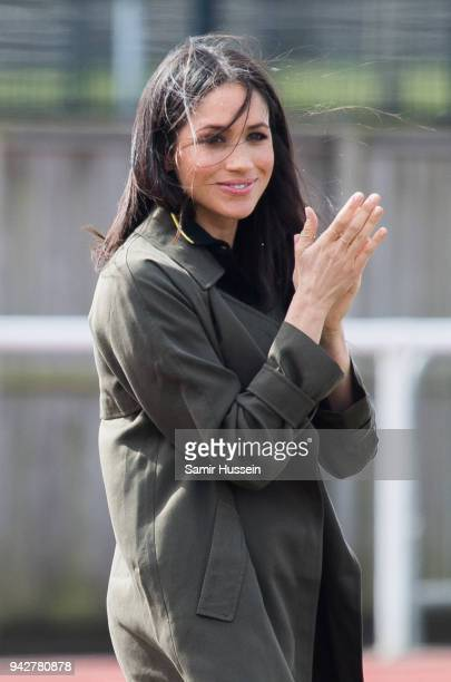 Meghan Markle attends the UK Team Trials for the Invictus Games Sydney 2018 at University of Bath on April 6 2018 in Bath England