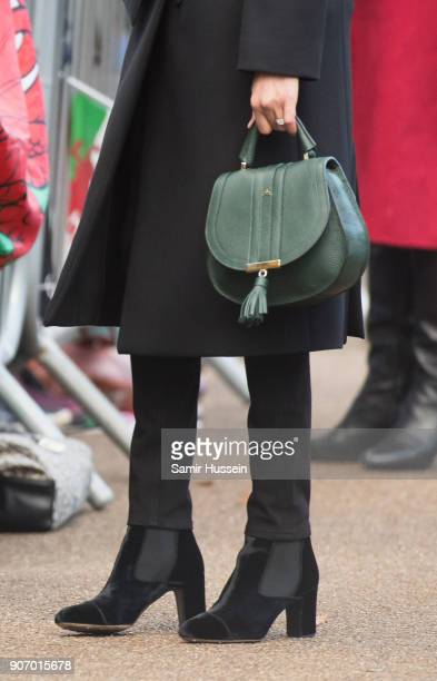 Meghan Markle bag detail visits Cardiff Castle on January 18 2018 in Cardiff Wales