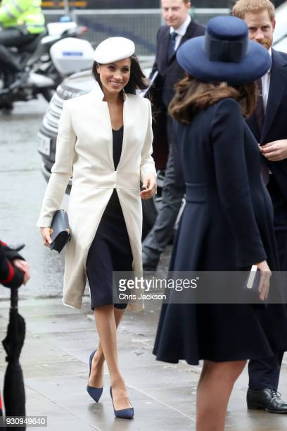 Meghan Markle Catherine Duchess of Cambridge and Prince Harry attend the 2018 Commonwealth Day service at Westminster Abbey on March 12 2018 in...