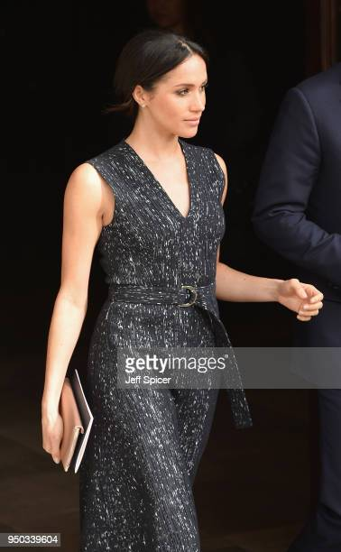 Meghan Markle departs after attending the 25th Anniversary Memorial Service to celebrate the life and legacy of Stephen Lawrence at St...