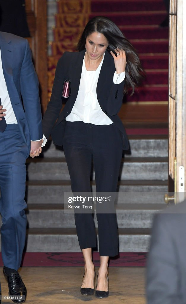 Meghan Markle departs after attending the 'Endeavour Fund Awards' Ceremony at Goldsmiths' Hall on February 1, 2018 in London, England. The awards celebrate the achievements of wounded, injured and sick servicemen and women who have taken part in remarkable sporting and adventure challenges over the last year.