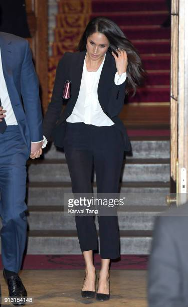 Meghan Markle departs after attending the 'Endeavour Fund Awards' Ceremony at Goldsmiths' Hall on February 1 2018 in London England The awards...