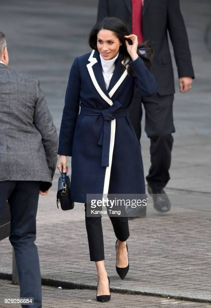 Meghan Markle departs after visiting Millennium Point with Prince Harry on March 8 2018 in Birmingham England