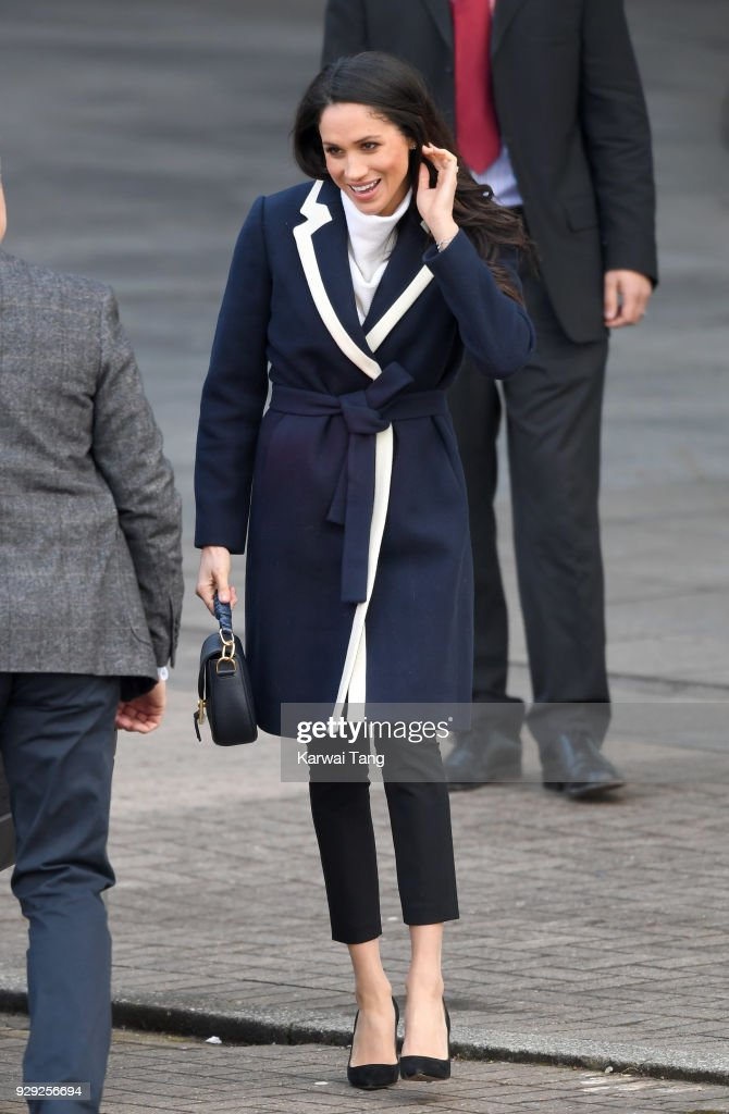 Meghan Markle departs after visiting Millennium Point with Prince Harry on March 8, 2018 in Birmingham, England.