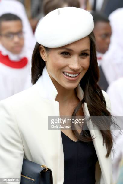 Meghan Markle departs the 2018 Commonwealth Day service at Westminster Abbey on March 12 2018 in London England