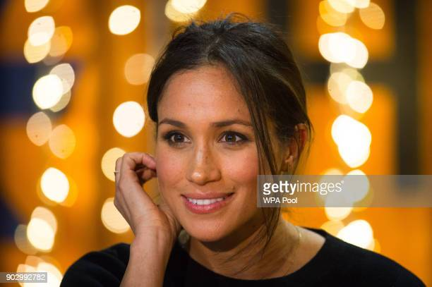 Meghan Markle during a visit to Reprezent 1073FM in Pop Brixton on January 9 2018 in London England The Reprezent training programme was established...