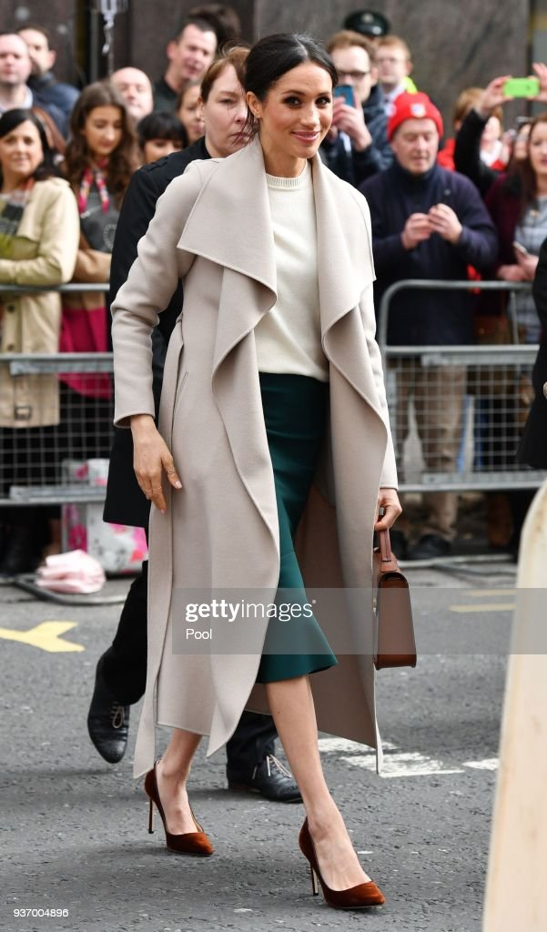 Meghan Markle during a walkabout after visiting the Crown Liquor Saloon, a former Victorian gin palace owned by the National Trust, on March 23, 2018 in Belfast, Nothern Ireland.