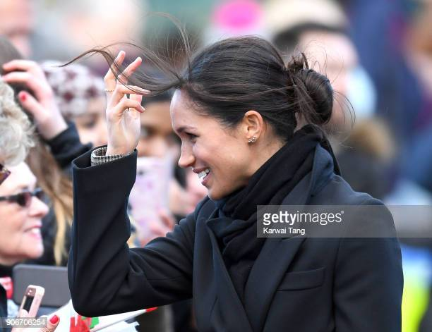 Meghan Markle during a walkabout at Cardiff Castle on January 18 2018 in Cardiff Wales