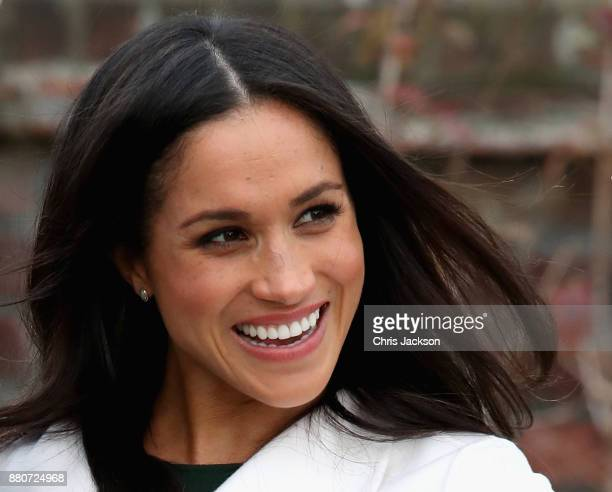 Meghan Markle during an official photocall to announce the engagement of Prince Harry and actress Meghan Markle at The Sunken Gardens at Kensington...