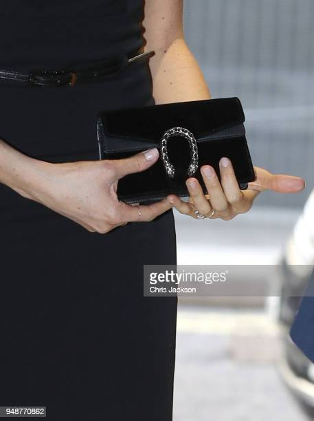 Meghan Markle handbag detail attends the Women's Empowerment reception hosted by Foreign Secretary Boris Johnson during the Commonwealth Heads of...