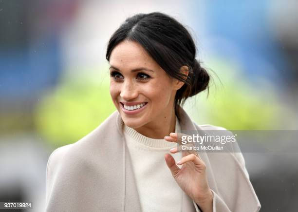 Meghan Markle is seen ahead of her visit to the iconic Titanic Belfast during her trip with Prince Harry to Northern Ireland on March 23, 2018 in...