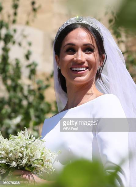 Meghan Markle leaves St George's Chapel at Windsor Castle after her wedding with Prince Harry on May 19, 2018 in Windsor, England.