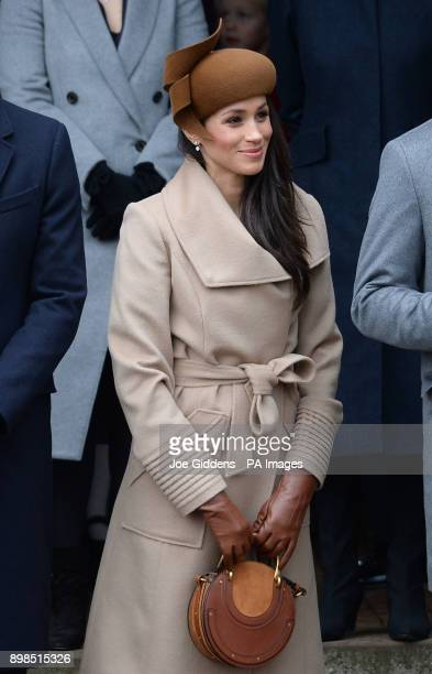 Meghan Markle leaves the Christmas Day morning church service at St Mary Magdalene Church in Sandringham Norfolk