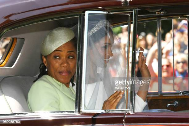 Meghan Markle leaves the Cliveden House Hotel accompanied by her mother Ms Doria Ragland ahead of her wedding to Prince Harry at St George's Chapel...