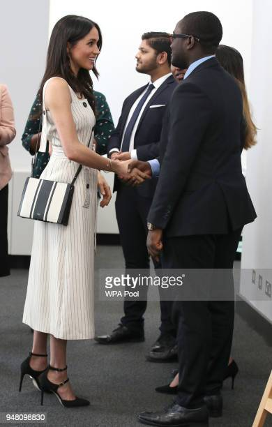 Meghan Markle meets delegates from the Commonwealth Youth Forum at the Queen Elizabeth II Conference Centre during the Commonwealth Heads of...