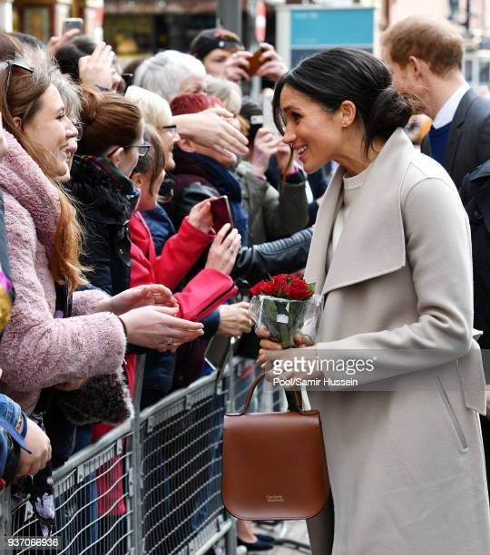 Meghan Markle meets members of the public after she leaves the Crown Liquor Saloon on March 23 2018 in Belfast Nothern Ireland