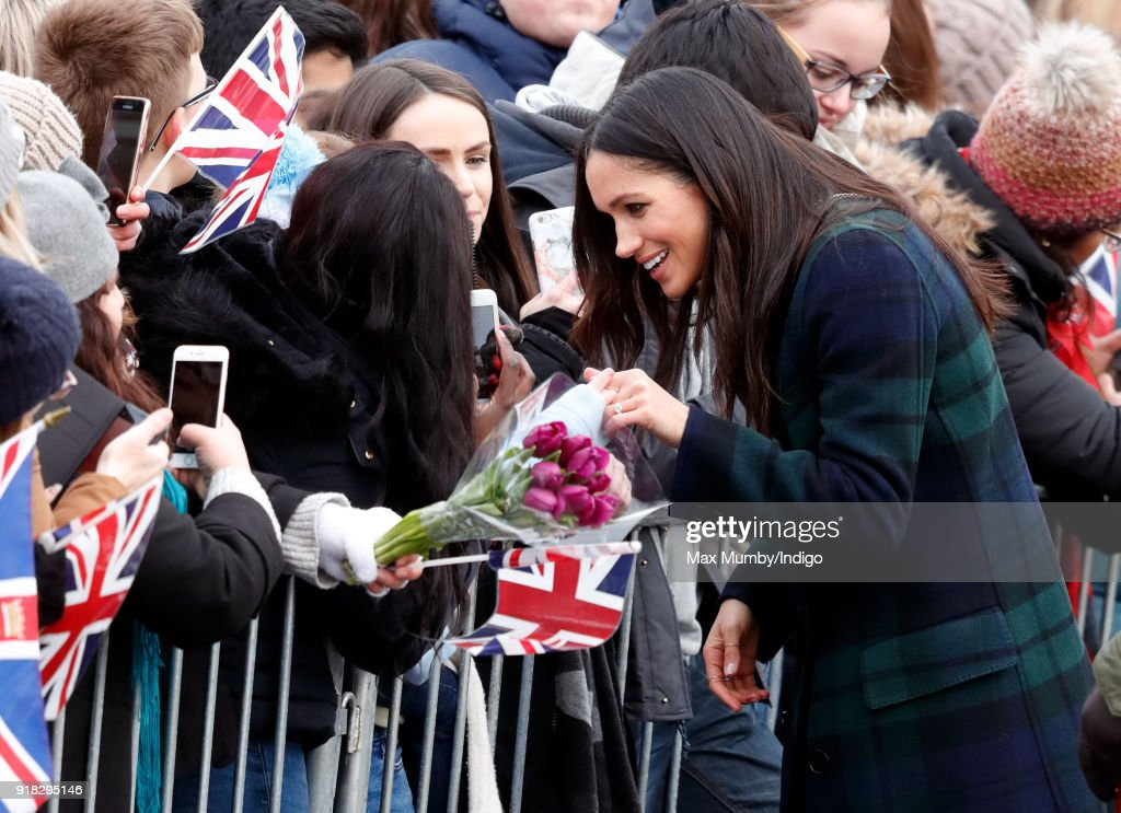 Meghan Markle meets members of the public as she visits Edinburgh Castle on February 13, 2018 in Edinburgh, Scotland.