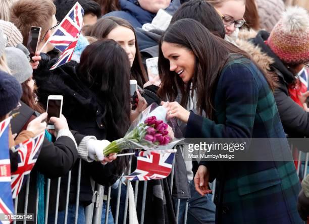 Meghan Markle meets members of the public as she visits Edinburgh Castle on February 13 2018 in Edinburgh Scotland