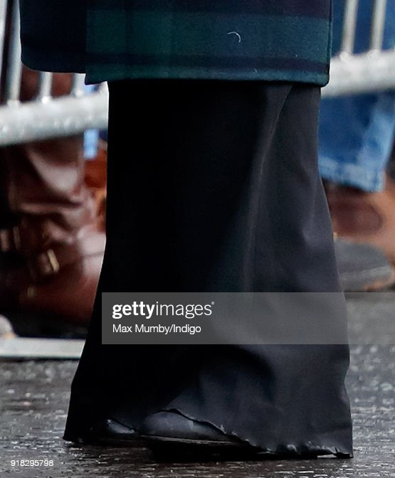 Meghan Markle (trouser detail) meets members of the public as she visits Edinburgh Castle on February 13, 2018 in Edinburgh, Scotland.