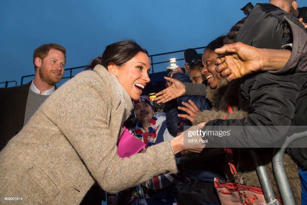 Meghan Markle meets members of the public following a visit to Reprezent 107.3FM in Pop Brixton on January 9, 2018 in London, England. The Reprezent training programme was established in Peckham in 2008, in response to the alarming rise in knife crime, to help young people develop and socialise through radio.