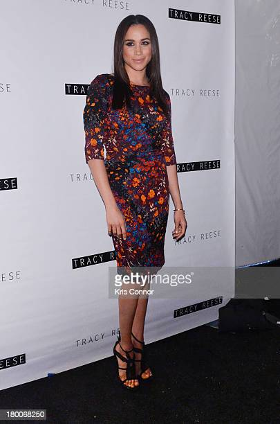 Meghan Markle poses for a photo during the Tracy Reese Spring 2014 fashion show at The Studio Lincoln Center on September 8 2013 in New York City