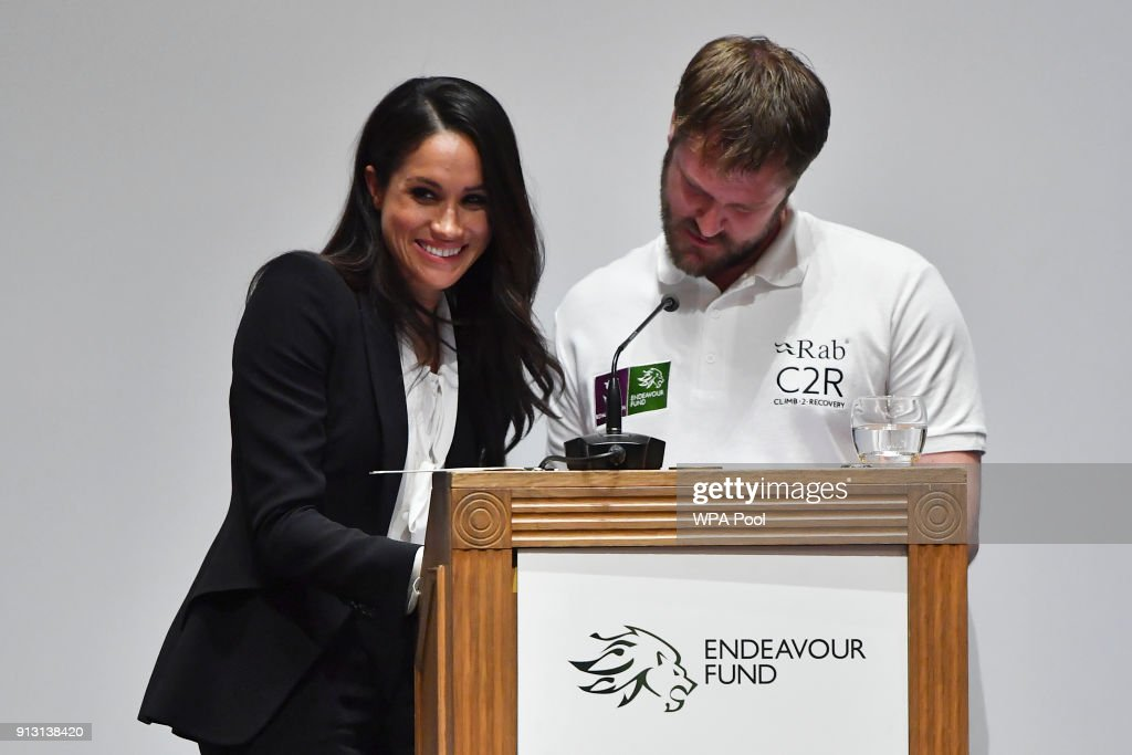 Meghan Markle presents awards during the 'Endeavour Fund Awards' Ceremony at Goldsmiths Hall on February 1, 2018 in London, England. The awards celebrate the achievements of wounded, injured and sick servicemen and women who have taken part in remarkable sporting and adventure challenges over the last year.