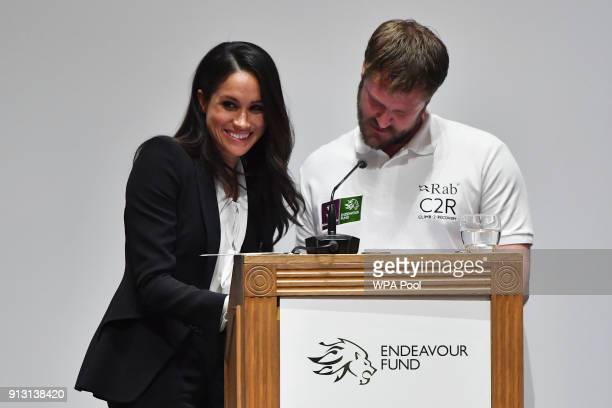 Meghan Markle presents awards during the 'Endeavour Fund Awards' Ceremony at Goldsmiths Hall on February 1 2018 in London England The awards...