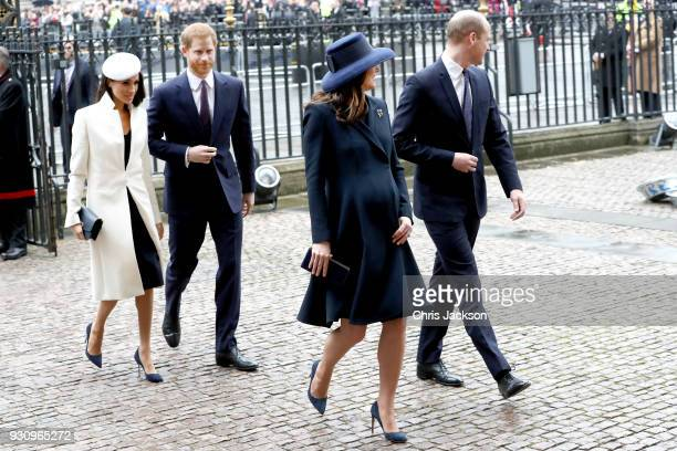 Meghan Markle Prince Harry Catherine Duchess of Cambridge and Prince William Duke of Cambridge attend the 2018 Commonwealth Day service at...