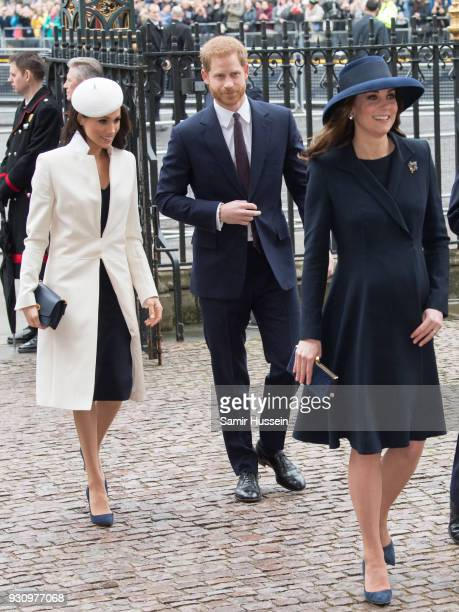Meghan Markle Prince Harry Catherine Duchess of Cambridge attend the 2018 Commonwealth Day service at Westminster Abbey on March 12 2018 in London...