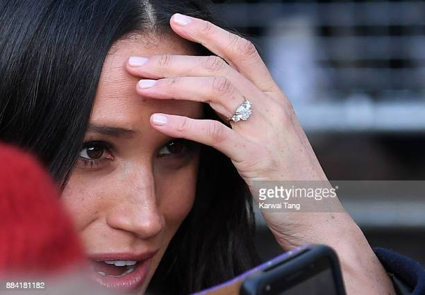 Meghan Markle ring detail attends the Terrence Higgins Trust World AIDS Day charity fair at Nottingham Contemporary on December 1 2017 in Nottingham...