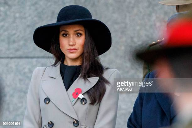 Meghan Markle the US fiancee of Britain's Prince Harry attends an Anzac Day dawn service at Hyde Park Corner on April 25 2018 in London England Anzac...